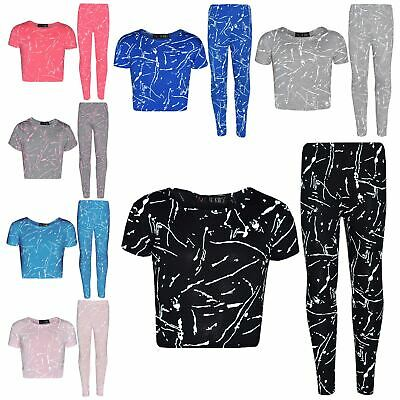 Girls Top Kids Splash Print Stylish Crop Top & Fashion Legging Set Age 7-13 Year