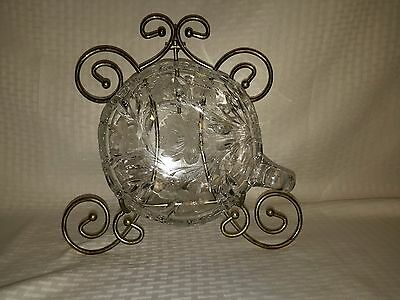 American Brilliant Pair Point Viscaria Crystal Cut  Glass  Nappy Dish