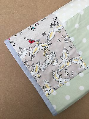 Modern Nursery Patchwork Baby Cot Quilt Playmat in Neutral Colours
