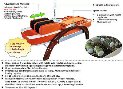 FIR Far Infrared Massage Jade Bed Spinal Traction Table w/ Foot Massage Therapy