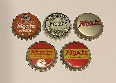5 vintage Moxie cork lined soda bottle caps 5 different unused
