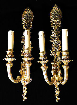 Antique French Louis XV style solid bronze pair of sconces (2)