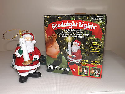 Mr. Christmas GOODNIGHT LIGHTS Santa TURN TREE LIGHTS ON & OFF Blow Out Candle