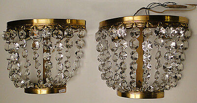 Antique French empire style bronze and glass pair of sconces (3)