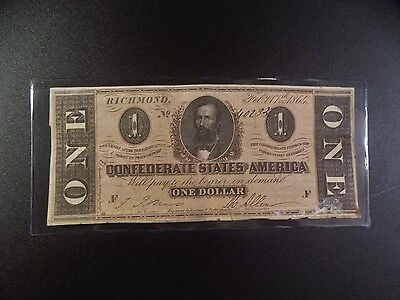 $1 Series  Of  February 17, 1864  Confederate  Note