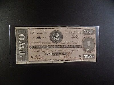 $2 Series  Of  February 17, 1864  Confederate  Note