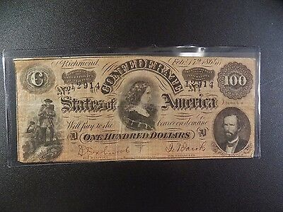 $100 Series  Of  February 17, 1864  Confederate  Note