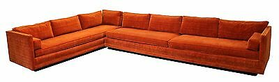 Mid Century Modern Baughman Directional 2 Pc Large Sectional Sofa Plinth Base