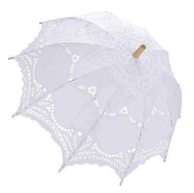 Coofit Lace Parasol for Bridal Bridesmaid Vintage Wedding Umbrella Decoration