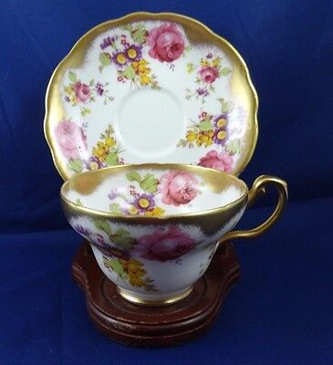 Foley Tea Cup And Saucer Rose & Wildflower Painted Teacup Wide Mouth