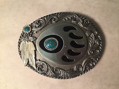 Siskiyou Belt Buckle Silver and Black, Turquoise with Gold Vein, Native Feathers