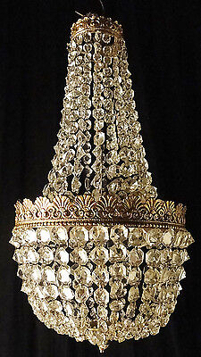 Antique bronze and crystal empire style chandelier Small carved crystal balls