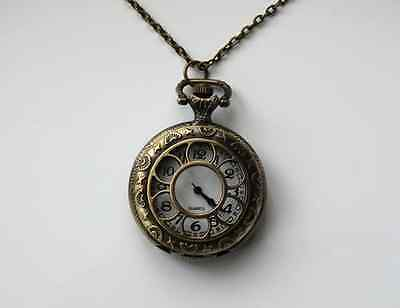 Vintage Antique Style Bronze Floral / Filigree Pendant Necklace Quartz Watch 3