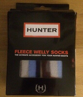 Hunter Kids Striped Multi Blue Welly Socks - Size -10-12Uk Or 28-30Eu-New In Box
