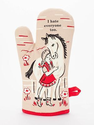 I Hate Everyone Too Oven Mitt Blue Q, 100% Cotton, Super Insulated, Gift