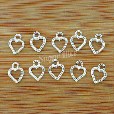 Love Hearts Silver Tone Wedding Pendant Bulk Charms Beads ~  PACK 10 or 20pc