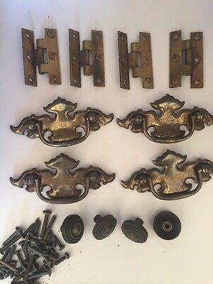 4 Antique Vintage Dresser Drawer Pulls Drop Handles Brass Hardware Knobs Hinges
