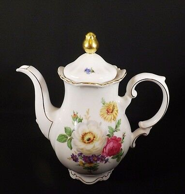 Lovely Porcelain Meissen Floral Mitterteich Germany Coffee Pot & Lid Ex Cond