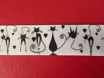 BLACK CATS On WHITE Grosgrain RIBBON 1Mtr X 22mm For Craft Hair Gifts Cakes