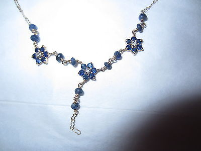 Vintage 14K Yellow Gold Blue Sapphire & Diamond Necklace For Scrap or Wear