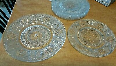 Decorative Glass Crystal Plate Set of 5 plus 1 Serving Plate Flower Pattern