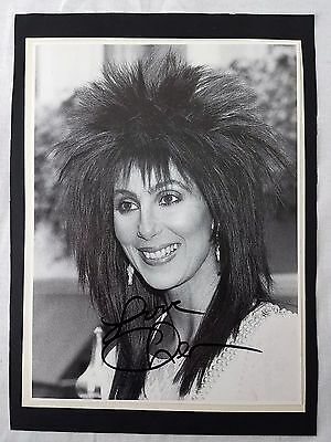 """CHER Signed 1980s B&W Photo Spiky Hair & Pearls 8"""" x 11"""""""
