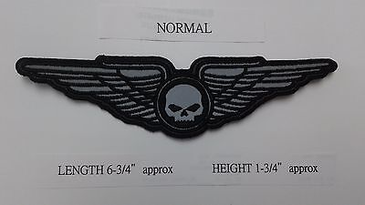 "1 PC SMALL REFLECTIVE SKULL ON WINGS BIKER  EMB PATCH 6-3/4x1-3/4"" SEW-ON"