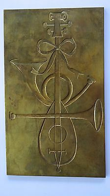 Vintage Holiday Christmas Brass Engraving Printing Plate Mandolin French Horn