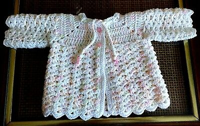 Hand Knitted Newborn Baby Girl Variegated White & Pink Sweater 0-3M Handmade NEW