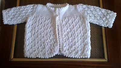 Hand Knitted Baby Girl Ivory Cropped Cardigan Sweater Size 2T  NEW