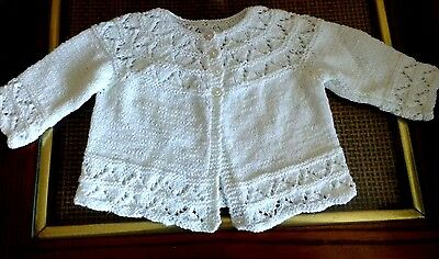 Hand Knitted Baby's White Cardigan Lacy Sweater 3-6M NEW
