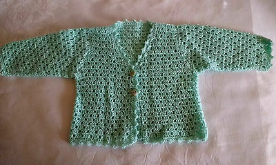Hand Knit Crochet Baby Girl Pale Green Cardigan Sweater Size 0-3M Handmade NEW