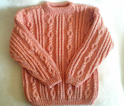 Hand Knitted Girls Coral Aaran Cable Knit Kids Sweater Size 2T-3T Handmade NEW