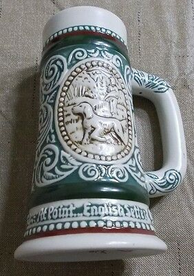 "Avon 1983 Handcrafted ""Rainbow Trout & English Setter"" Mini Stein ~ EUC!"