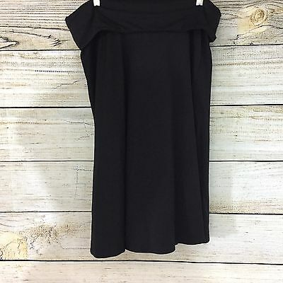A Pea in the Pod Maternity Black Knit Jersey Skirt Size L Fold Over Waist Panel