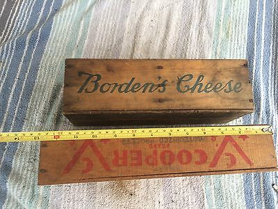 2 Rare Antique Wood Dairy Advertising Cheese Crate Box borden's & cooper