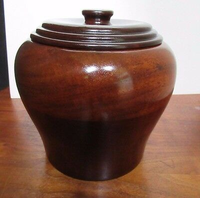 ANTIQUE? VINTAGE WOOD LIDDED BOWL Spice CONTAINER TOBACCO JAR TREEN nice!!