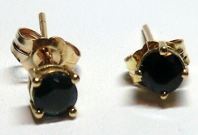 Estate 14k Yellow Gold 3.8mm Round Dark Blue Natural Sapphires Stud Earrings WOW