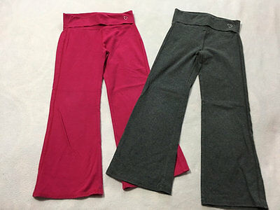 Gap Kids Girls S 6 7 Pink Gray Stretch Yoga Foldover Waist Knit Pants READ FLAW
