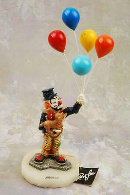 "Ron Lee Clown  Holding Ballons & Dog 14"" Inch Tall Limited Edition 101/750"