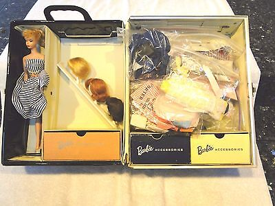 Vintage 1958 #5 Ponytail Barbie Doll Blonde  Mattel 1961 Case, Clothes & Accs