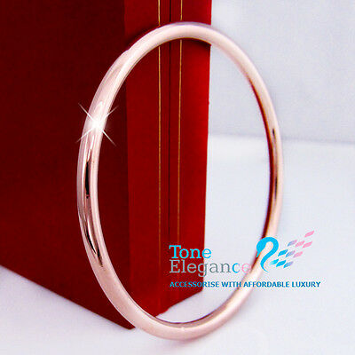 9ct Rose gold GF silver tone golf women men solid bangle bracelet jewellery