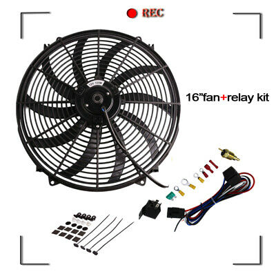 "16"" INCH PULL/PUSH RADIATOR Electirc Thermo Curved Blade FAN+ MOUNTING"