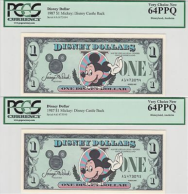 Consecutive 1987 $1 Disney Dollars (2) PCGS 64 PPQ 1st Year Issue Mickey Mouse