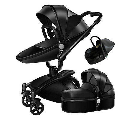 Baby Infant Kids Stroller PU Leather Carriage Travel Car Foldable Pram Pushchair