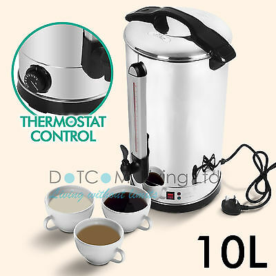 10L Litre Electric Stainless Steel Catering Hot Water Boiler Tea Urn Commercial