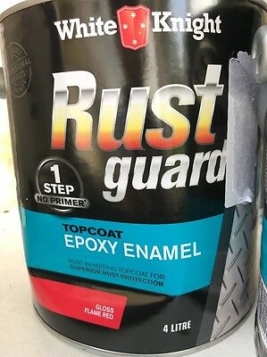 White Knight Rust Guard Top Coat Epoxy Enamel Gloss Flame Red 4L