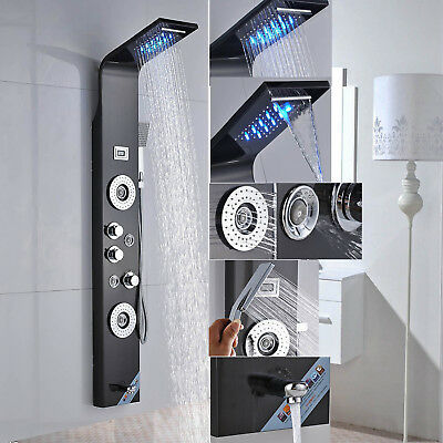 LED Stainless Steel Shower Panel Column Massage Jets Hand Shower Tub Spout Tap