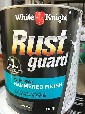 White Knight Rust Guard Top Coat Hammered Finish Charcoal  4L