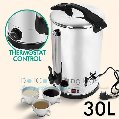 30L Litre Electric Stainless Steel Catering Hot Water Boiler Tea Urn Commercial